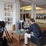 Coordinator Loris Cok during the interview with film crew AV Creations, being interviewed by Alessia Di Loreto, PNO